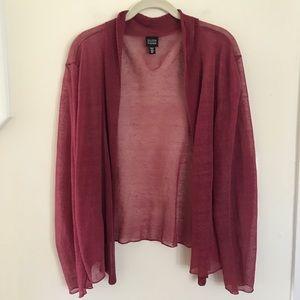 Eileen Fisher Linen Blend Open Front Cardigan XL
